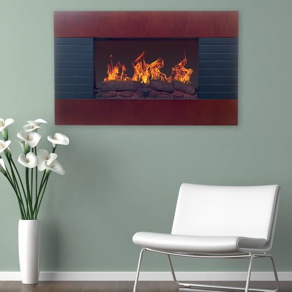 Northwest Mahogany Wall Mounted Electric Fireplace with Remote ...