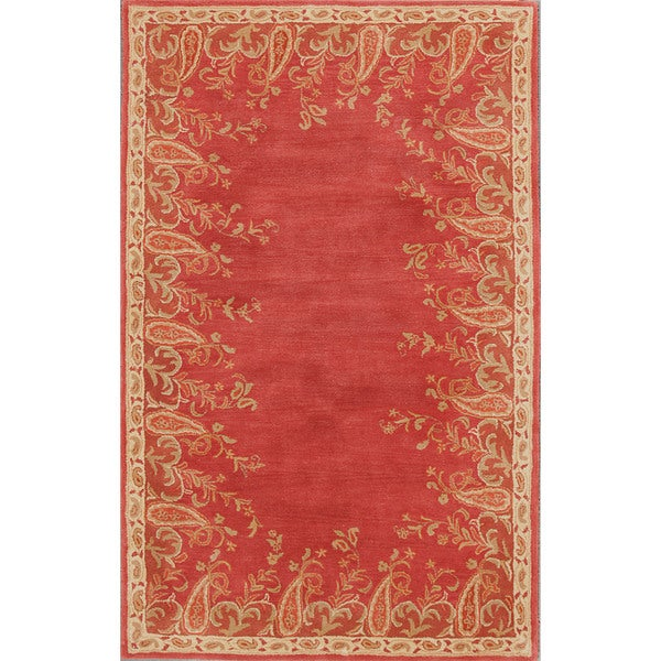 Hand-tufted Ajanta Paisley Border Rust Wool Rug (9' x 12')