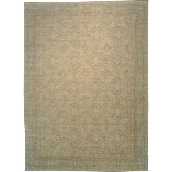 Khotan Design Peshawar Wool Oversize Hand Knotted Area Rug 13 X27