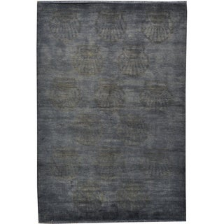 Silver Blue Overdyed Modern Gabbeh Shells Design Hand-knotted Area Rug (5'6 x 7'6)