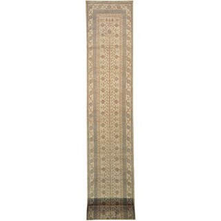 Khotan Washed-out 100-percent Wool XL Runner Hand-knotted Area Rug (3' x 31')