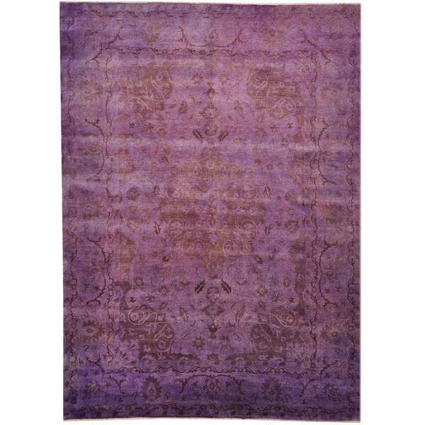 100 Wool Persian Area Rug: Shop Purple Overdyed Persian Kashan 100-percent Wool Hand