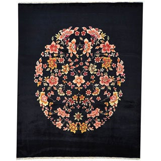 Navy Blue Chinese Art Deco Recreation 100-percent Wool Area Rug (8' x 10')