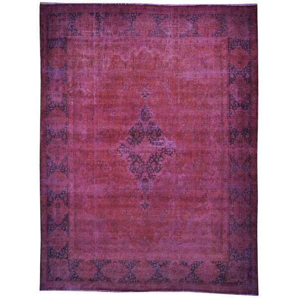 Shop Overdyed Old Worn Down Persian Kerman Purple Area Rug