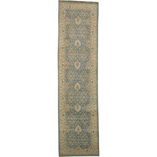 100-percent Wool Washed-out Blue Peshawar Runner Hand-knotted Area Rug (3' x 10')