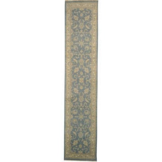 Sky Blue Hand-knotted Peshawar Runner 100-percent Wool Area Rug (3' x 12')