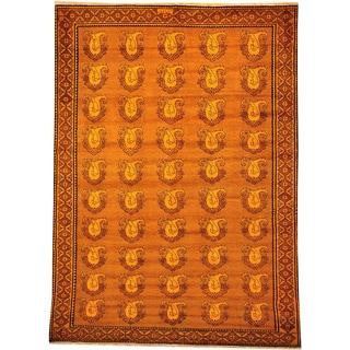 Overdyed Persian Full Pile Orange Cast 100-percent Wool Area Rug (7' x 10')