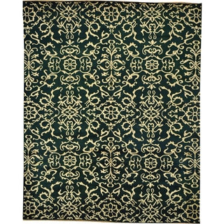 Forest Green Wool and Silk Modern Nepali Hand-knotted Area Rug (8' x 9')