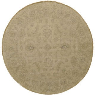 Ivory Peshawar 100-percent Wool Hand-knotted Washed-out Area Rug (6' Round)