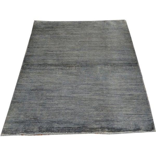 100 Wool Persian Area Rug: Silver Overdyed Modern Gabbeh 100-percent Wool Oriental