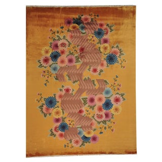 Hand-knotted Orange Chinese Art Deco Wool Rug (9' x 12')