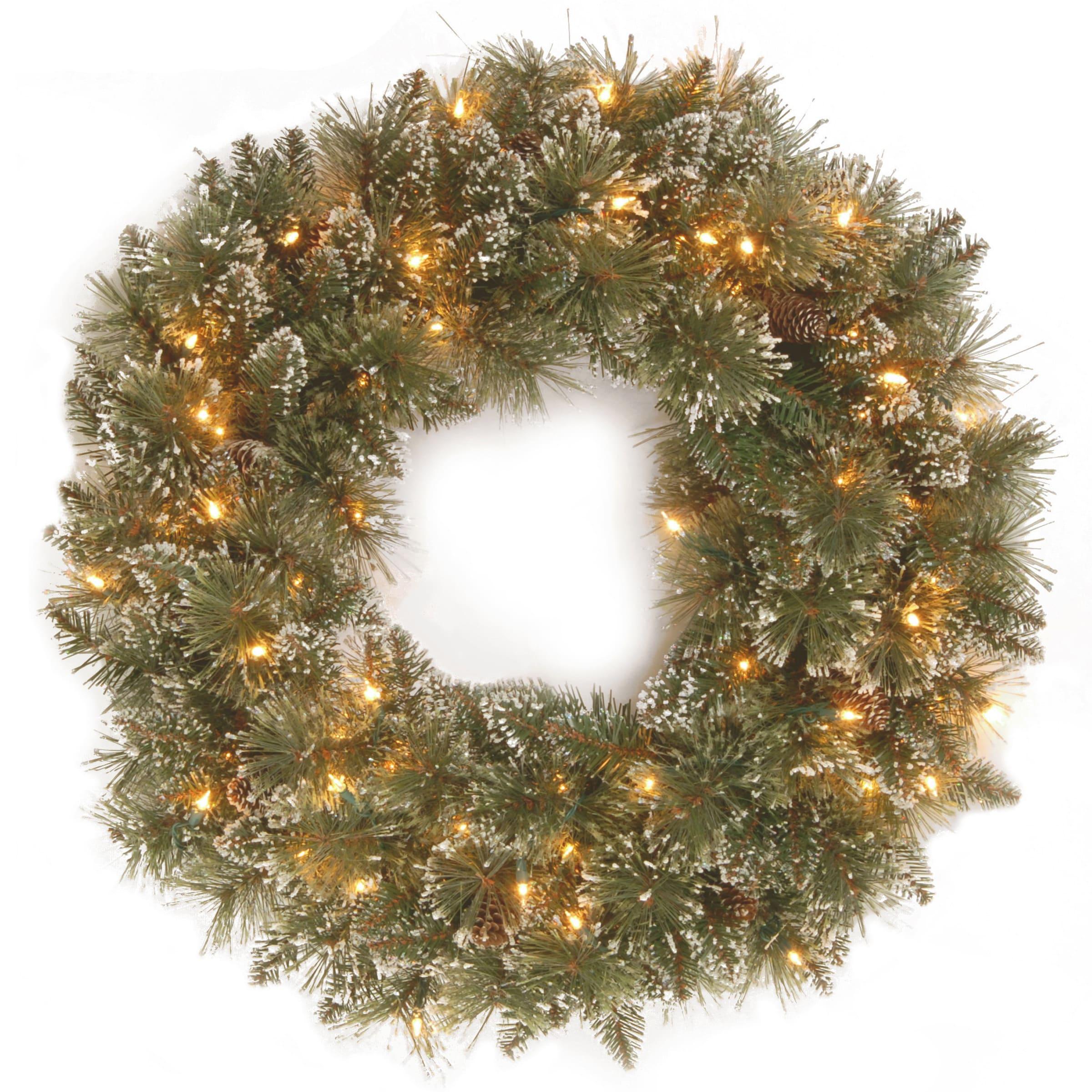 National Tree 30-inch Glittery Bristle Pine Wreath with W...