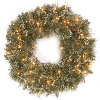 30-inch Glittery Bristle Pine Wreath with White Tipped Cones and 50 Clear Lights