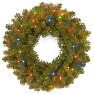 26-inch -inchFeel-Real-inch Down Swept Douglas Wreath with 50 Low Voltage Multi LED Lights and Caps
