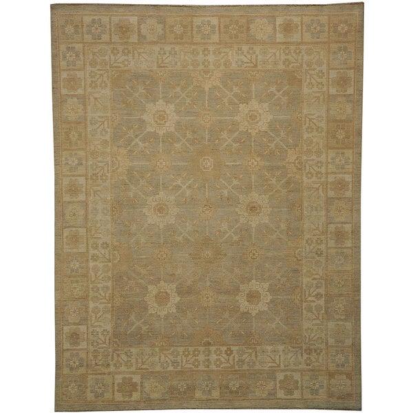 100 Wool Persian Area Rug: Shop Silver Khotan Oriental 100-percent Wool Natural Dyes