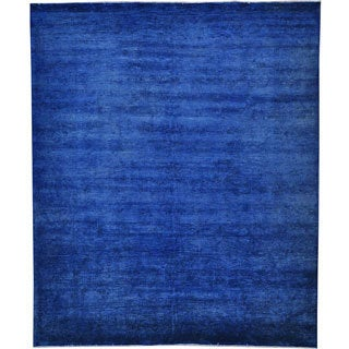 Denim Blue Peshawar Overdyed Hand-knotted 100-percent Wool Area Rug (8' x 10')