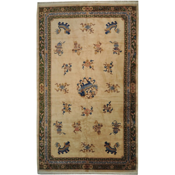 Thick and plush chinese with dragons hand knotted area rug for Thick area rugs sale