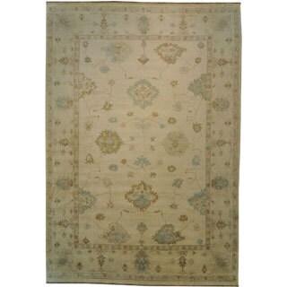 White Wash Ivory Oushak 100-percent Wool Hand-knotted Oversize Area Rug (12' x 18')