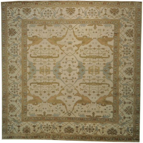 Shop 100 Percent Wool Hand Knotted Oriental Oversize Ivory Square