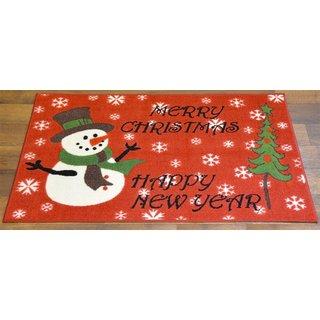Ottomanson Red Snowman Design Non-flammable Non-Slip Christmas Mat Rug (2' x 3'3)