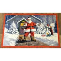 Ottomanson Red Santa Claus Design Non-flammable Non-Slip Christmas Mat Rug - 2' x 3'3