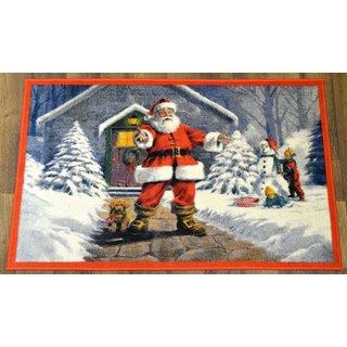 Ottomanson Red Santa Claus Design Non-flammable Non-Slip Christmas Mat Rug (2' x 3'3)