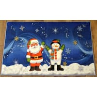 Ottomanson Blue North Pole Joy in Holidays Design Non-flammable Non-Slip Christmas Mat Rug (2' x 3'3)