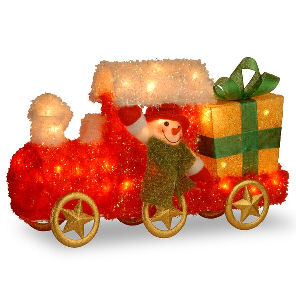 23 inch tinsel train with gift and snowman with green scarf with 35 clear outdoor