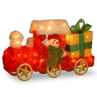 23-inch Tinsel Train with Gift and Snowman with Green Scarf with 35 Clear Outdoor Lights