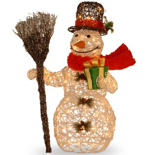 27-inch White Ratton Snowman Holding Gift and Broom with 50 Clear Outdoor Lights