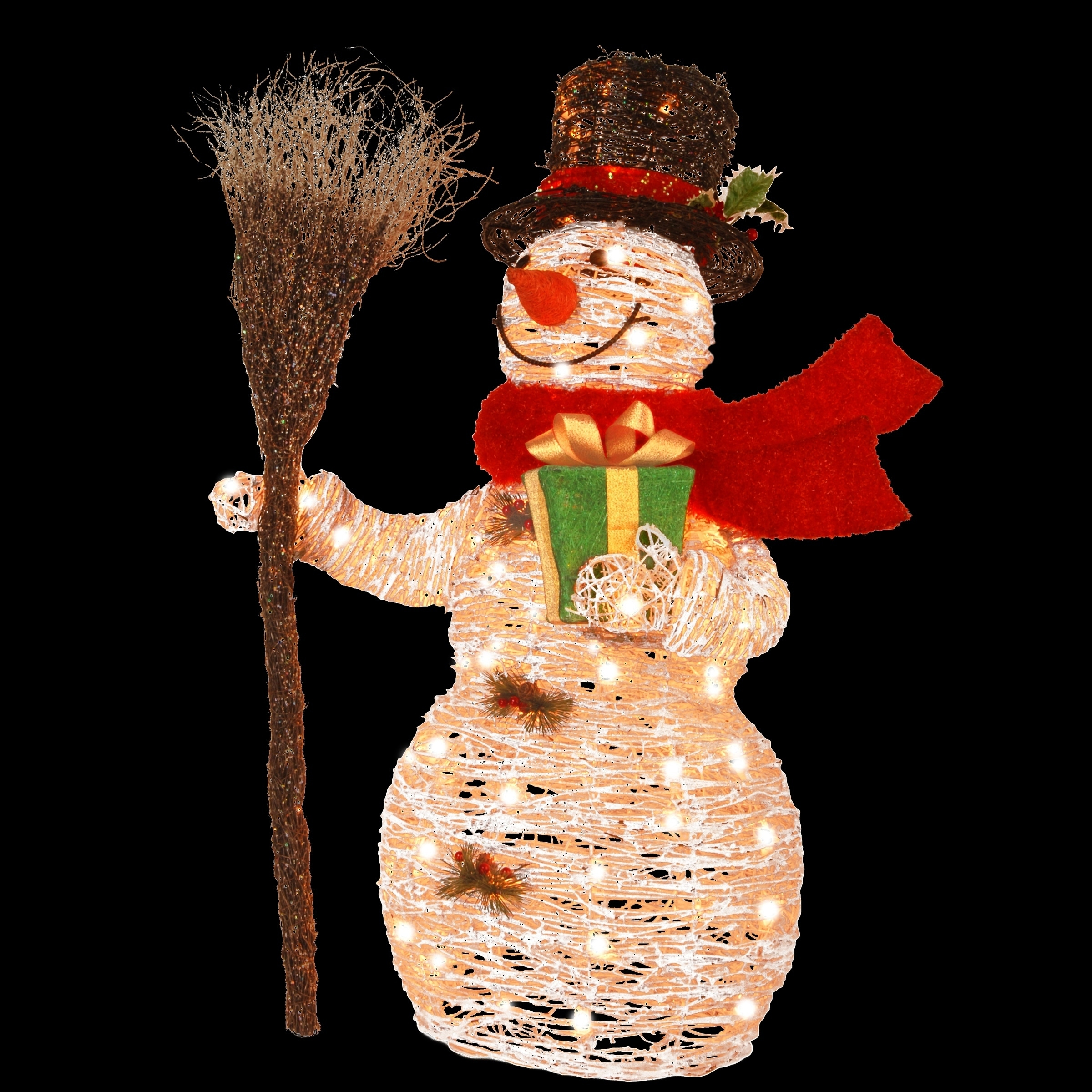 35 Inch White Ratton Snowman Holding Gift And Broom With 70 Clear Outdoor Lights On Sale Overstock 9606114