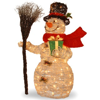 35-inch White Ratton Snowman Holding Gift and Broom with 70 Clear Outdoor Lights