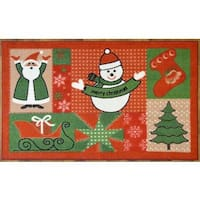Ottomanson Red Holiday Spirit Design Non-flammable Non-Slip Christmas Mat Rug - 2' x 3'3