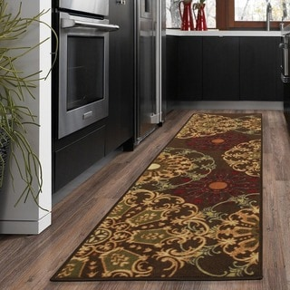 Ottomanson Ottohome Collection Chocolate Contemporary Damask Design Runner Rug (1'8 x 4'11)