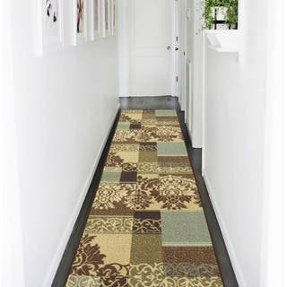 Ottomanson Ottohome Collection Contemporary Damask Design Brown Runner Rug With Non Skid Rubber Backing
