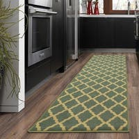 Ottomanson Ottohome Collection Aqua Blue Morrocon Trellis Design with Rubber Backing Sage Green Lattice Runner Rug - 1'8 x 4'11
