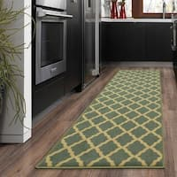 Ottomanson Ottohome Collection Aqua Blue Morrocon Trellis Design with Rubber Backing Sage Green Lattice Runner Rug (1'8 x 4'11)