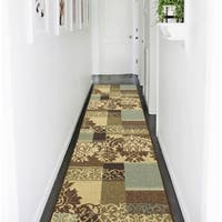 Ottomanson Ottohome Collection Contemporary Damask Design Brown Runner Rug with Non-skid Rubber Backing (2' x 7')
