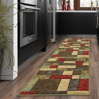 Ottomanson Ottohome Collection Multicolor Contemporary Boxes Design Runner Rug with Non-skid Rubber Backing (2' x 7')