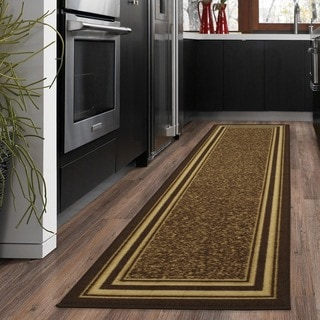 Ottomanson Ottohome Collection Contemporary Bordered Design Brown Runner Rug with Non-skid Rubber Backing (2' x 7')