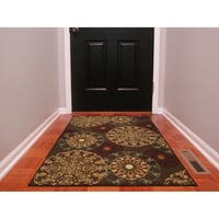 Ottomanson Ottohome Collection Contemporary Damask Design Brown Area Rug with Non-skid Non-slip Rubber Backing (3' x 5')