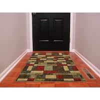 Ottomanson Ottohome Collection Green/Brown/Red Nylon Contemporary Boxes Design Area Rug (3' x 5')