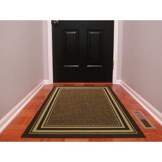 "Ottomanson Ottohome Collection Contemporary Bordered Design Chocolate Brown Area Rug with Non-skid Rubber Backing (3'3"" X 5'0"")"