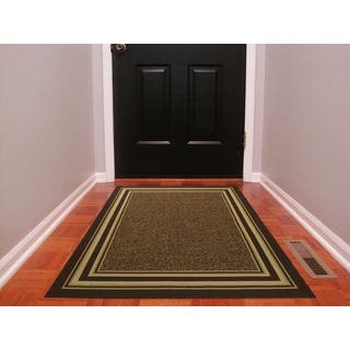 Ottomanson Ottohome Collection Contemporary Bordered Design Chocolate Brown Area Rug With Non Skid Rubber Backing