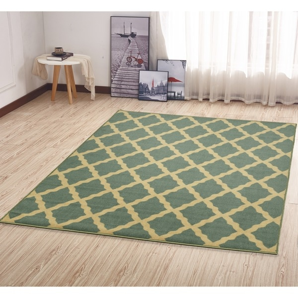 Ottomanson Ottohome Collection Morrocon Trellis Design Non-skid Rubber Backing Sage Green Area Rug (3' x 5')