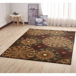 Ottomanson Ottohome Collection Contemporary Damask Design Brown Area Rug with Non-skid Non-slip Rubber Backing (5' x 7')