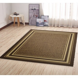 Ottomanson Ottohome Collection Color Contemporary Bordered Design Brown Area Rug with Non-slip Rubber Backing (5' x 7')