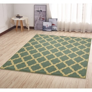 Ottomanson Ottohome Aqua Blue Morrocon Trellis Design Sage Green Area Rug with Non-skid Rubber Backing (5' x 7')