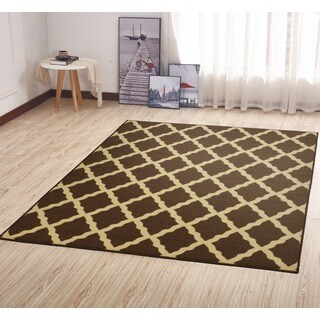 Ottomanson Ottohome Collection Morrocon Trellis Design Brown Area Rug with Non-skid Rubber Backing Lattice (5' x 7')