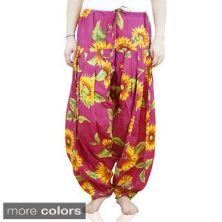 Handmade Indian Clothing Women's Full Length Sunflower Print Patiala Dancer Pants with Scarf (India)